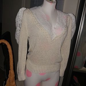 ·Vintage· hand knit pearl sweater 😍😍